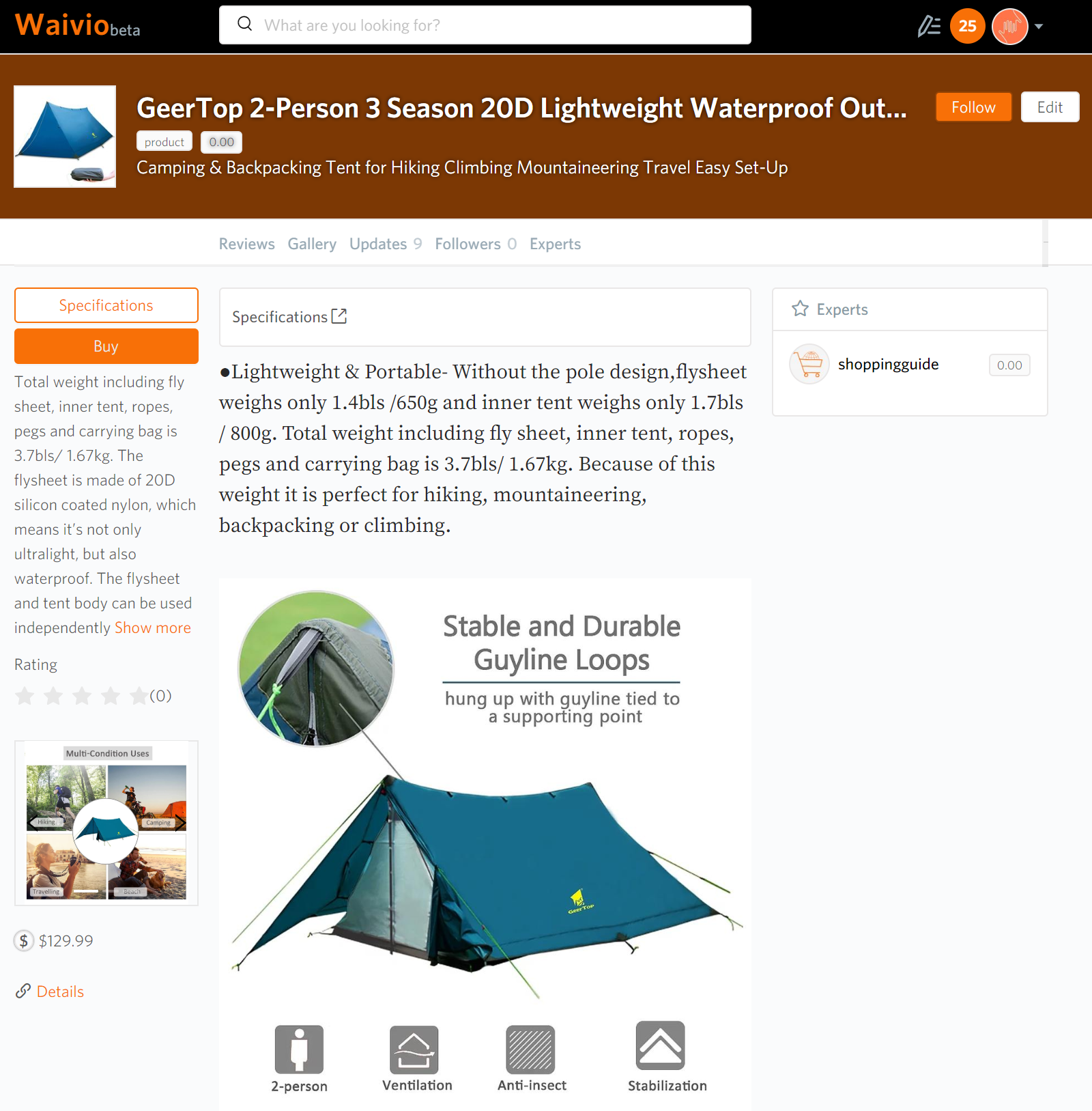 Example of a product listing on Waivio