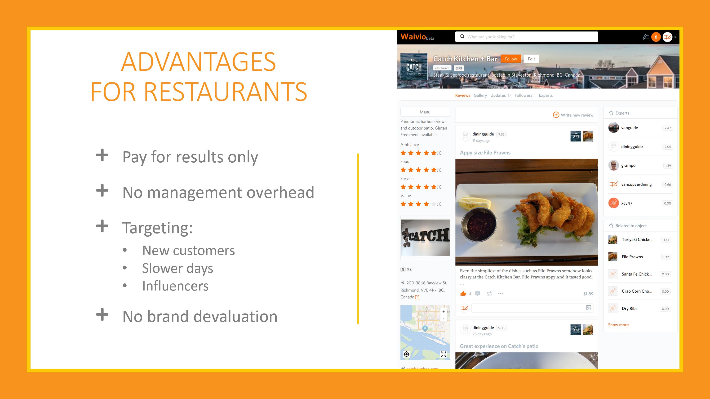 Advantages for restaurants